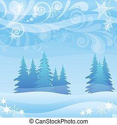 fondo, natale, foresta, inverno