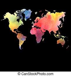 fondo negro, acuarela, vector, mapa