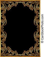 fondo negro, con, dorado, ornamentos