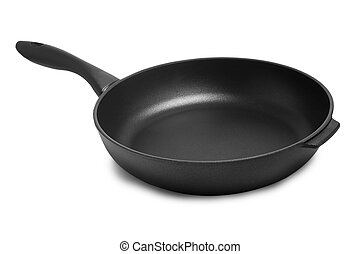 fondo negro, freír, blanco, cacerola, cocina