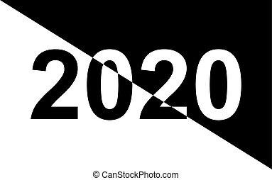 fondo., nero, numeri, anno, nuovo, bianco, 2020.