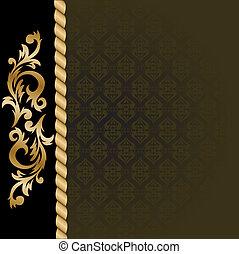 fondo, nero, oro, ornamenti