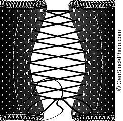 fondo, nero, retro, corsetto