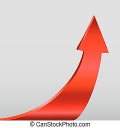 fondo., neutral, gris, flecha, rojo