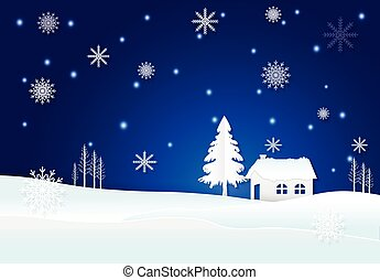 fondo, neve, inverno, blu, fiocco di neve, cottage