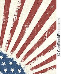 fondo., norteamericano, grunge, bandera, vector.