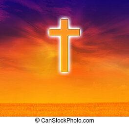 fondo, o, credere, splendere, fondo, depressione, speranza, cielo, sognante, cielo, croce, espellere, luce, cielo, dio, crocifisso, concetto, oscurità