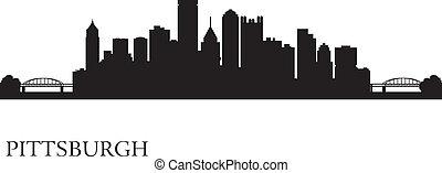 fondo, orizzonte, città, pittsburgh, silhouette