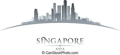 fondo, orizzonte, città singapore, asia, silhouette, bianco