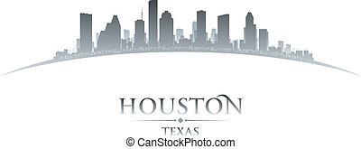 fondo, orizzonte, houston, città, texas, silhouette, bianco