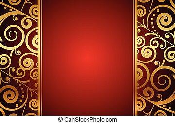 fondo, ornamenti, oro, rosso