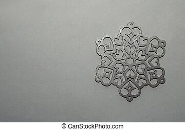 fondo., ornamento, gris, plata, copo de nieve