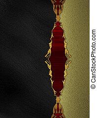 fondo, oro, bordo, nero, sagoma, disegno, insert., rosso