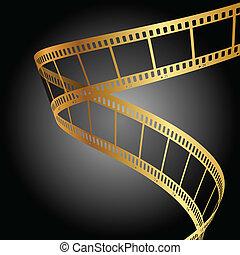 fondo, oro, striscia cinematografica