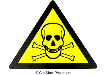 fondo., ossa, avvertimento, cranio, segno., azzardo, giallo