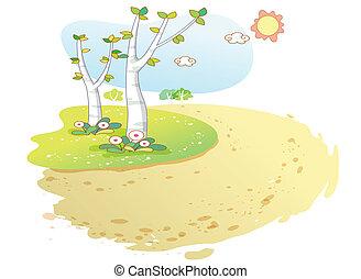 fondo, paesaggio, cartone animato