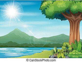 fondo, paesaggio, natura, fiume, montagna