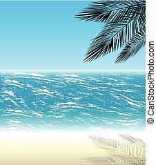 fondo, palmizi, mare