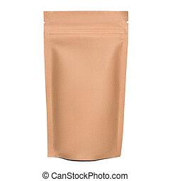 fondo., papel, cremallera, blanco, aislado, kraft, bolsa, blanco, marrón