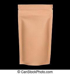 fondo., papel, cremallera, blanco, aislado, negro, kraft, bolsa, marrón