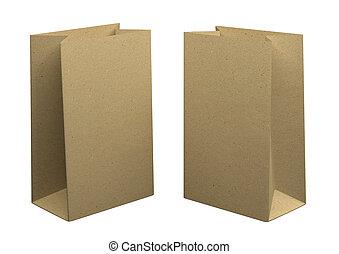 fondo., papel, diseño, aislado, dos, kraft, blanco, reciclado, mockup, bolsas