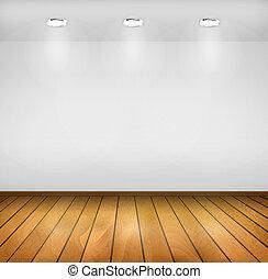 fondo., pavimento legno, tre, realistico, vettore, lampade, ...