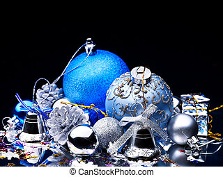 fondo., pelota, negro, navidad