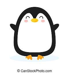 fondo., penquin, caricatura, aislado, lindo, illustrtaion, vector, antártico, divertido, blanco, animal