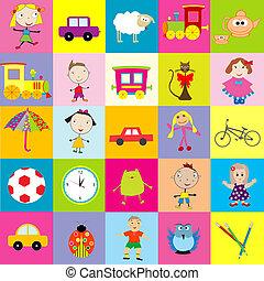 fondo, per, bambini, con, giocattoli