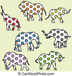 fondo, per, bambini, con, punteggiato, elefanti