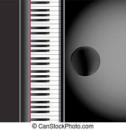 fondo., pianoforte, vettore, sedia