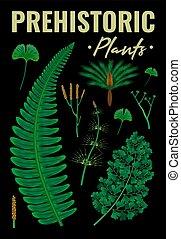 fondo, piante, verticale, preistorico