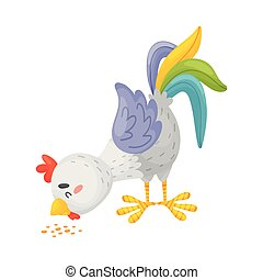 fondo., picotazos, grain., ilustración, vector, gallo, gris...