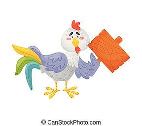 fondo., placa, ilustración, vector, gallo, gris, asideros, ...