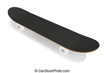 fondo., ponte, skateboard, isolato, interpretazione, bianco, 3d