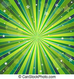fondo, raggi, astratto, verde, giallo