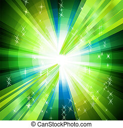 fondo, raggi, verde, cerchio