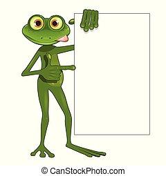 fondo, rana verde, bianco, illustrazione