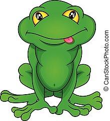 fondo, rana, verde, cartone animato, bianco