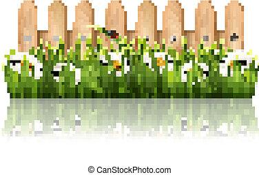 fondo, recinto, legno, butterflies., erba, vector., fiori