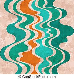 fondo., resumen, retro, colorido, ondas
