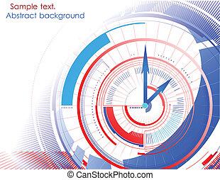 fondo., resumen, vector, colorido, reloj