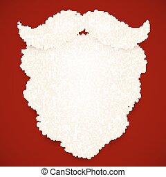 fondo, riccio, scuro, santa, bianco rosso, barba