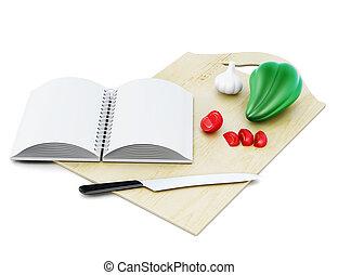 fondo., ricetta, isolato, interpretazione, libro, vuoto, bianco, 3d
