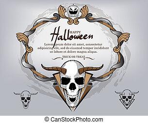 fondo, ricorrente, testo, antico, cranio, cornice, halloween