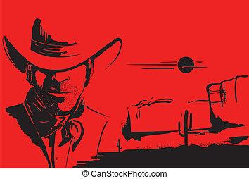 fondo, ritratto, man., vettore, cowboy, manifesto