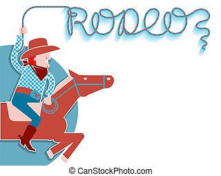 fondo., rodeo, cowboy, laccio