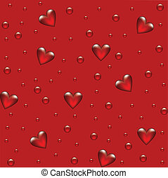 fondo rojo, con, transparente, hearted