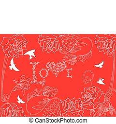 fondo rojo, con, vendimia, flores