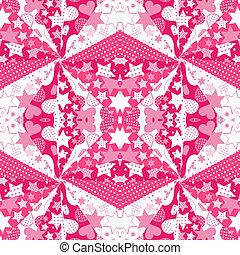 fondo rosa, con, corazones, y, estrellas